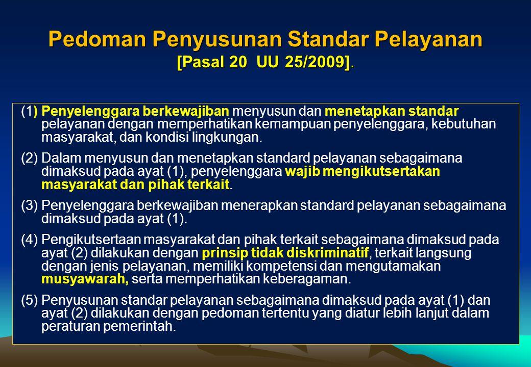 Pedoman Penyusunan Standar Pelayanan [Pasal 20 UU 25/2009].